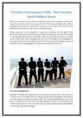 Creative Groomsmen Gifts - For Creative And Fulfilled Party.docx