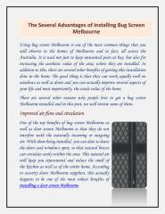 The Several Advantages of Installing Bug Screen Melbourne.pdf